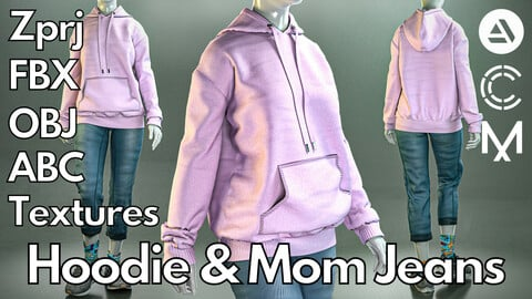 Marvelous Designer + Clo3d + OBJ + Texture : Hoodie & mom jeans