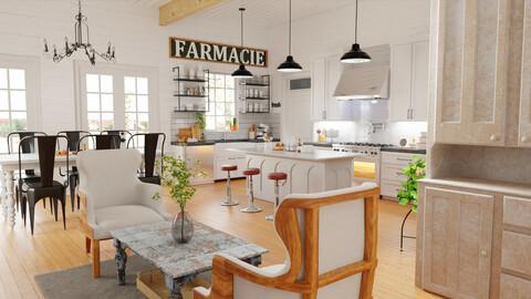 Full farming house interior-Blend + fbx + obj