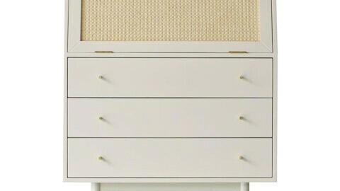 Bund Woody White Rattan 3 Drawer Dresser