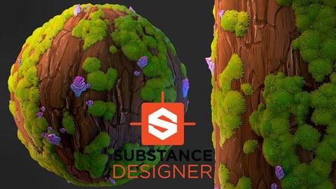 Stylized Tree Bark with Moss - Substance Designer