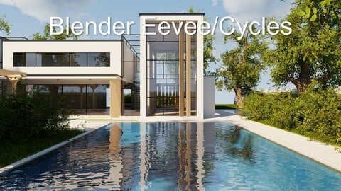 Modern villa 2021 Blender Eevee and Cycles 2 (without furniture)