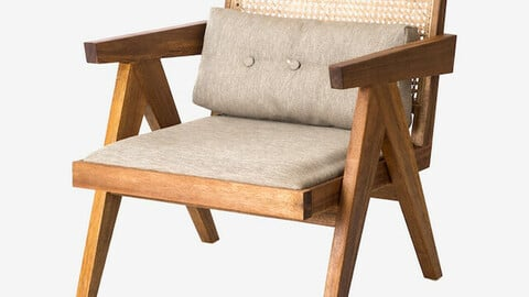 Viva Lounge Chair Solid Wood Rattan Cafe Dining Chair