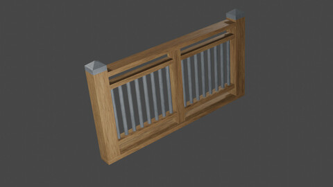 Wood Fence PBR Low-Poly 3D model