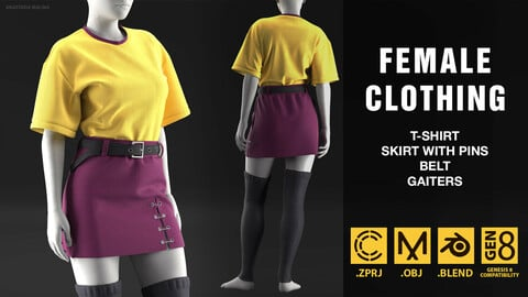 Women's clothing with t-shirt, skirt with pins, belt. MD/CLO3D PROJECT FILE + OBJ + BLEND