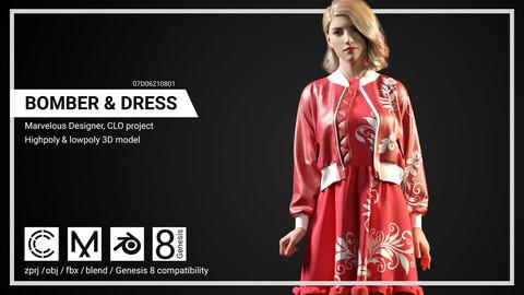 Bomber & Dress - Marvelous Designer, CLO project.