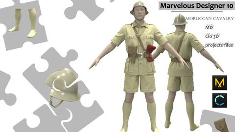 The German military uniform_Cavalry attire_Clo3d, Marvelous Designer Project + FBX + OBJ