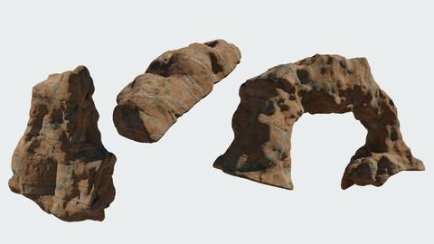 Rock Cliffs 3D Model - Mid Poly