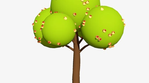 3D stylized apple tree smal and big for cinema4d blender and other non pbr