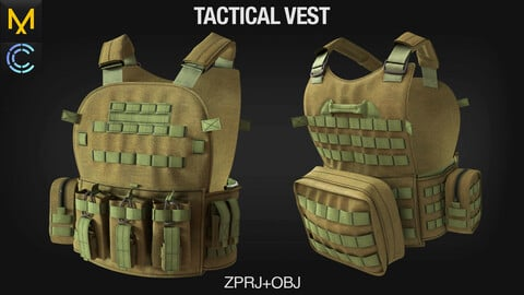 Tactical Vest. Clo3D/Marvelous Designer project + OBJ file