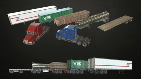 Semi Truck Collection - Low Poly