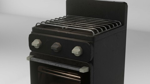 Gas range old post-soviet 2 Burners PBR low-poly game-ready