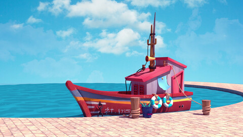 boat stylized 3d