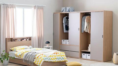 Modern Big Sliding Mirror Wardrobe 120cm Hanger/Shelf
