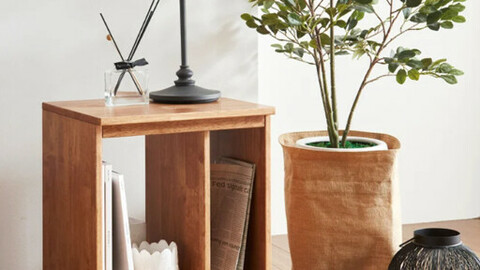 Verde rubber wood simple solid wood mini bedside table shelf