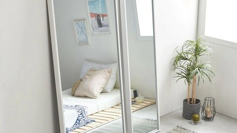 Large wide beautiful full body mirror stand