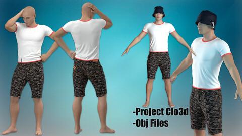 T-Shirt with Denim Shorts & Panama