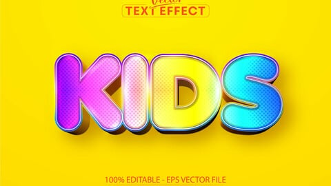 Kids editable text effect, sweet colorful cartoon font style