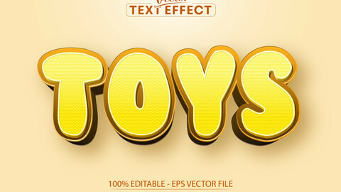 Toys editable text effect, yellow color cartoon font style