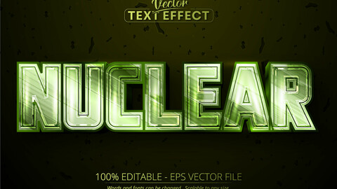 Nuclear editable text effect, shiny metallic green color and chrome font style