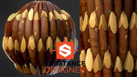 Stylized Wood Spike - Substance Designer