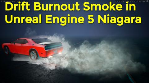 Drift Car Burnout Smoke in UE5 Niagara