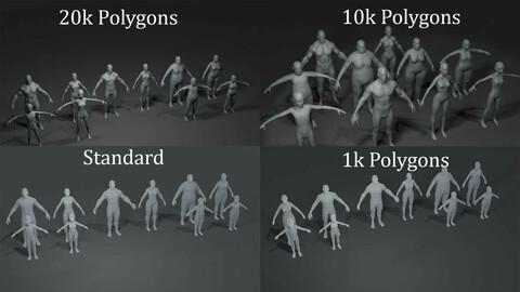 Human Body Base Mesh 40 Models Pack