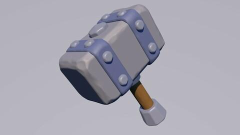 Lowpoly Hammer 3D Model (obj., c4d.)