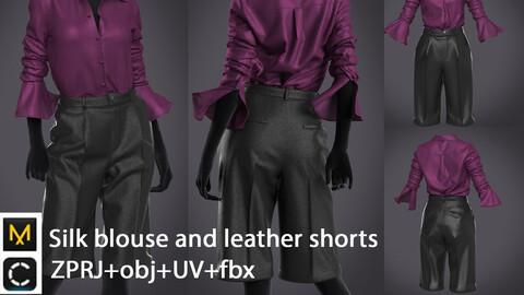 Silk blouse and leather shorts   digital clothes   marvelous designer   clo3d