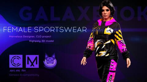 Female Sportswear. Avatar genesis 8 Female. Marvelous Designer, Clo3d project. 4K PBR Textures. .OBJ.FBX files