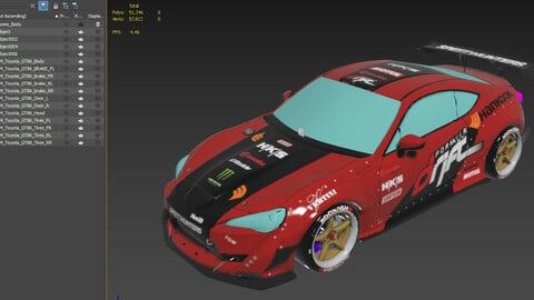 Game Ready Car - Unwrapped with Texture - Toyota GT86 - Formula Drift Car, no interior