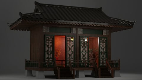 Japanese Teahouse Garden Structures Viewing Pavilions Low-poly 3D model