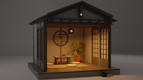 Japanese garden viewing pavilions teahouse build Low-poly 3D model