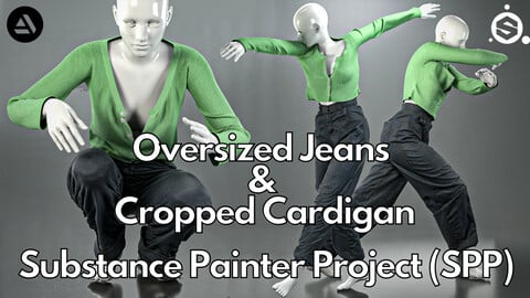 Substance Painter (.SPP) : Cropped cardigan & oversized jeans