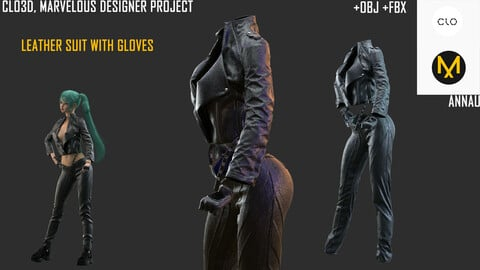 LEATHER SUIT WITH GLOVES: CLO3D, MARVELOUS DESIGNER PROJECTS|+OBJ +FBX: Extended Commercial License