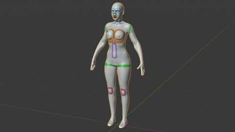 Female Base Mesh - Full Rig - Woman Girl Character Low-poly 3D model