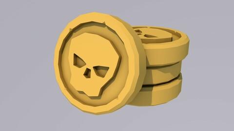 Lowpoly Gold Skull Coin (obj., c4d.)
