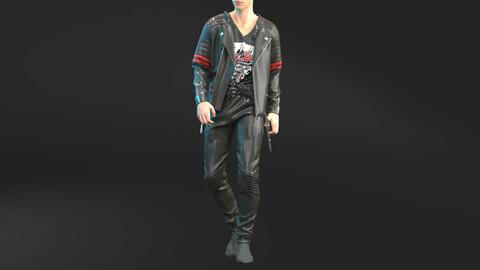 Male Leather Biker Outfit . Clo3D , Marvelous Designer