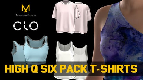Six different Hi Quality Women T-shirts. MD, CLO3D project files and renders