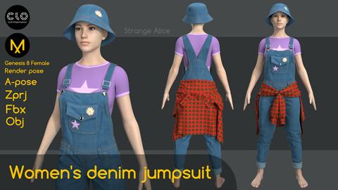Women's denim jumpsuit. Clo3d, Marvelous Designer projects.