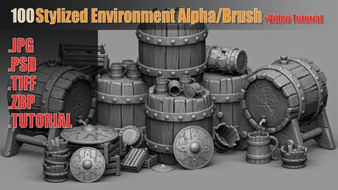 100 Stylized Environment Alpha/Brush + Video Tutorial