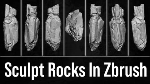 Sculpt Rocks In Zbrush + File And Brushes ( Zero To Hero )
