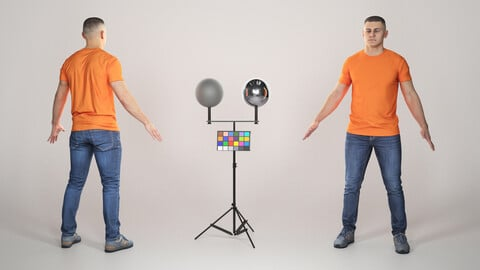 Young man in orange t-shirt ready for animation 328