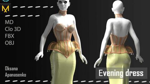 Evening dress with a corset. Clo 3D/MD project + OBJ, FBX files