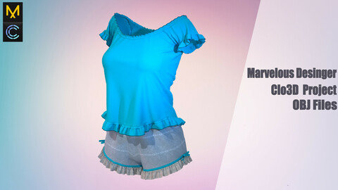 Pajamas for girls /Marvelous Desinger/ Clo3D Project + OBJ Files