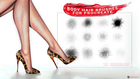 Body Hair Brushes | MarMirArt Body Hair Brush Set | 13 Brushes For Procreate