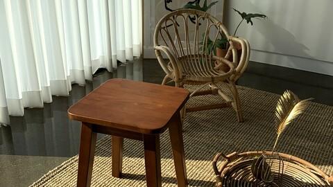 Pantheon wooden stool chair