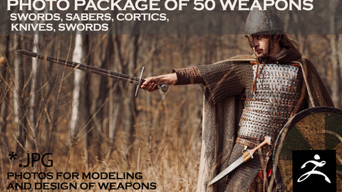 Photo package of 50 weapons, swords, sabers, cortics, knives, swords