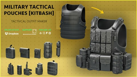 Military Tactical Pouches [Kitbash]  [CLEAN TOPOLOGY]