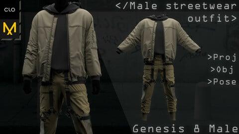 Clo3d/Marvelous designer Male Streetwear/Techwear/Warcore/Military outfit. Zprj/Obj/Pose