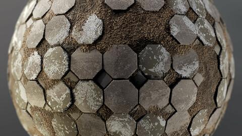 PBR - BROKEN CONCRETE HEXAGONAL BLOCKS FLOOR - 4K MATERIAL